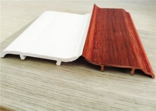 Chiny Decorative White PVC Skirting Board 10CM Height Hot Stamping Finish dystrybutor